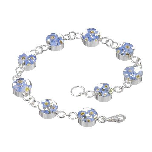 Braccialetto in argento realizzato con veri fiori del non ti scordar di me, maglie rotonde, confezione regalo inclusa