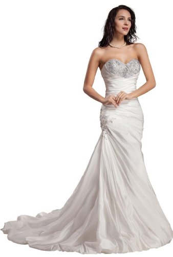 GEORGE BRIDE Sweetheart Neckline Taffeta Wedding Dress With Beaded Bodice Size 14 Ivory