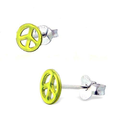 Green Peace Sterling Silver Childrens Earrings Post/stud