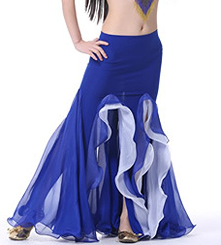 [AvaCostume Bollywood Dance Costume Belly Dance Fishtail Maxi Skirt 2 Layer Blue] (Bollywood Costume Party)