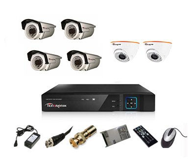 Tentronix-T-8ACH-6-D2BA410-8-Channel-AHD-Dvr,-2(1MP/36IR)-Dome,-4(1MP/36IR)-Bullet-Cameras-(With-Accessories)