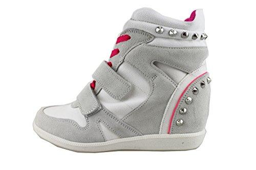 CULT sneakers zeppe donna bianco ghiaccio tessuto camoscio AH861 (39 EU)