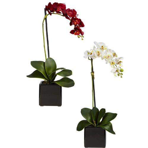 nearly-natural-4757-s2-phaleanopsis-orchid-with-black-vase-decorative-silk-arrangement-red-and-white