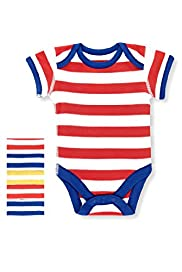 5 Pack Pure Cotton Bold Striped Bodysuits