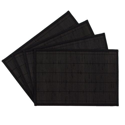 Benson Mills Bali Bamboo Placemats, Black, Set of 4