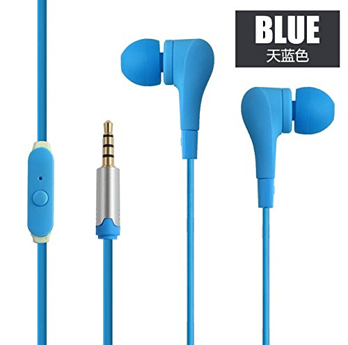 New style fashion Blue earphone & earbuds with Kevlar fiber cable with mic for iPhone/Ipad/Android phones/Android tablets