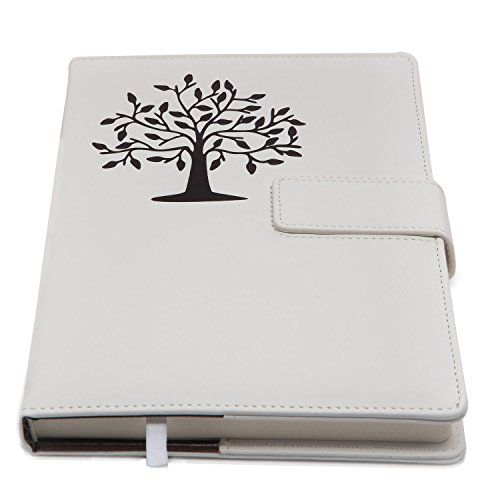 The Amazing Office - Classic Refillable Writing Journal Notebook - Beautiful Tree of Life PU Leather Design - Refillable with Secure Magnetic Latch - Medium Size - 100 Sheets 200 Pages - White (Personal Diary compare prices)