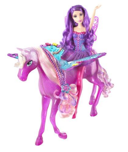 Barbie-T5254-Fairytopia-Super-Set-pink-lila-Fairy-Fee-pink-rosa-Mrchen-Pferd-mit-Feen-Flgel-Barbie-mit-lieblichen-Duft-Mattel