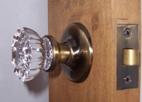 Antique Type 12 Point Fluted Depression Crystal Passage Knob Set for Modern Pre-drilled Doors. This Hardware Offers Features Only Found in Much More Expensive Sets, Inter-rose Liners Conceal Connecting Screws on Rosettes