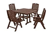 Hot Sale POLYWOOD PWS124-1-MA Nautical 5-Piece Dining Set, Mahogany