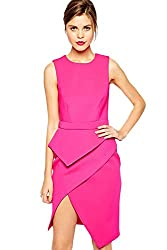 Qurves-Pink Premium Asymmetric Peplum Dress