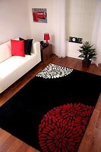 Modern Black Red & Ivory Plain Rug Shiraz by The Rug House