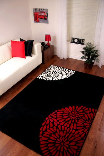 Area Rugs EXTRA LARGE MODERN BLACK RED IVORY PLAIN RUG SHIRAZ Save Now