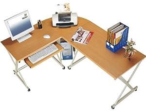 myhomeoffice24 computertisch schreibtisch in praktischer winkel l form buche pc9b sonderangebote. Black Bedroom Furniture Sets. Home Design Ideas