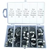 "50 pcs Assortment Case-SS Single Ear Hose Clamps 5/8"" to 13/16"" or 16.2mm-21mm"