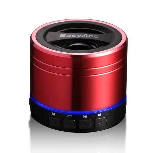 Easyacc® Mini Portable Rechargeable Bluetooth Speaker , Wireless Bluetooth Boxing Speaker For Smartphones, Tablets Pc, Laptops, Ultrabook ,With Microphone ,Support Micro Sd Card Playing & Fm Function - Red