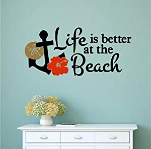 Life Is Better At The Beach Vinyl Decal Wall Art Words Sticker Lettering Home Kitchen Décor 33x15