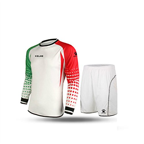 Kelme Set Maglia a maniche lunghe da portiere da calcio, Uomo, White/Red/Green, XXL