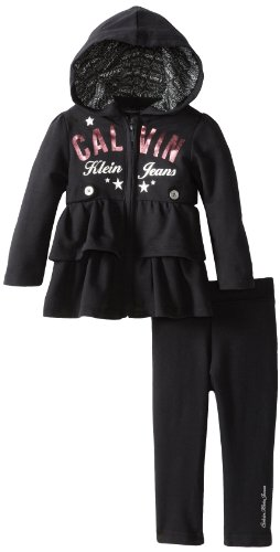 New Calvin Klein Baby-Girls Infant Hooded Fleece Set with Ruffles On The Jacket
