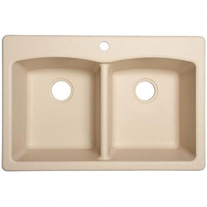 Franke USA EDCH33229-1 Double Bowl Sink Granite 9-Inch Deep, Champagne