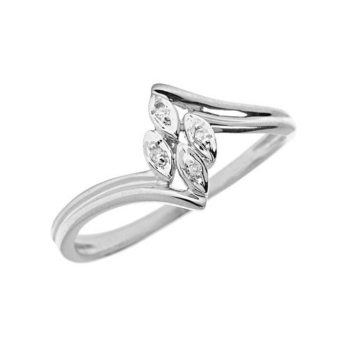 10K White Gold Diamond Leaf Ring (Size 10.5)