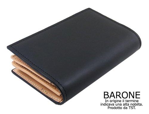 【BARONE】本牛革メンズ名刺入れ・カードケース(黒) ハイブランド仕様でプレゼントにも サイフ/男性用小物[BN1005]