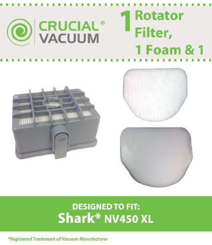 1 Shark NV450 & NV480 Filter Kit: XL Rotator Filter, 1 Foam & 1 Felt Filter, Fits Shark NV450 XL Vacuums, Compare to Part # XHF450 & XFF450, Designed & Engineered By Crucial Vacuum (Shark Rocket Filter Nv480 compare prices)