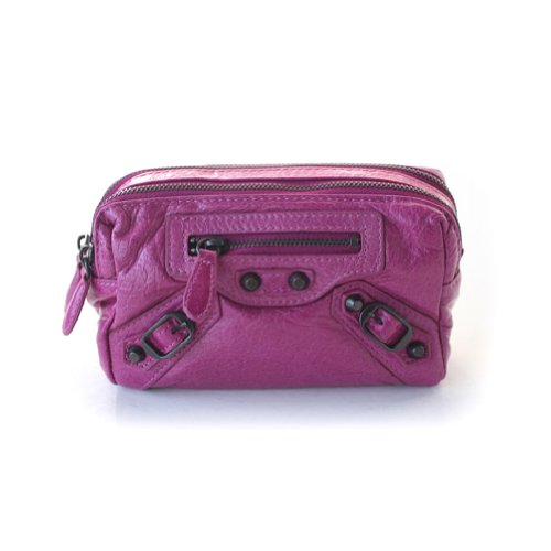 Genuine Leather Soft Calfskin Two Zip Square Pouch - MAGENTA