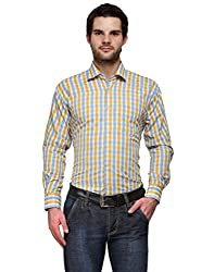 Ausy Yellow and Blue Cotton Blend Mens's Shirt