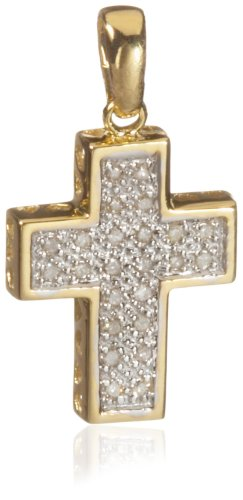9ct Yellow Gold Pave Diamond Cross Pendant