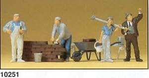Bricklayers w/Bricks & Equipment (4) HO Scale Preiser Models