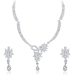 Sukkhi Exotic Rhodium Plated AD Necklace Set For Women