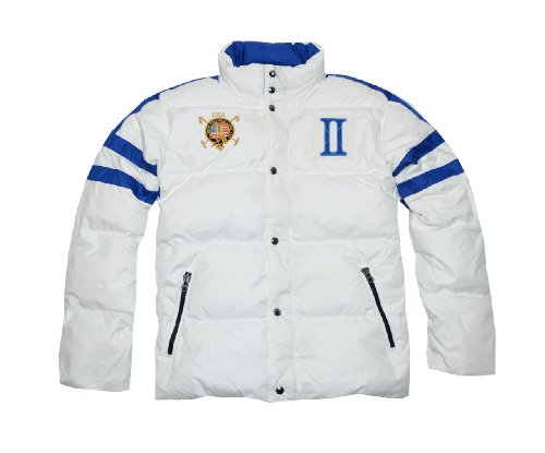 Polo Ralph Lauren Men Fashion Snow Challenge Cup Down Bomber Jacket - USA (L, White/blue)