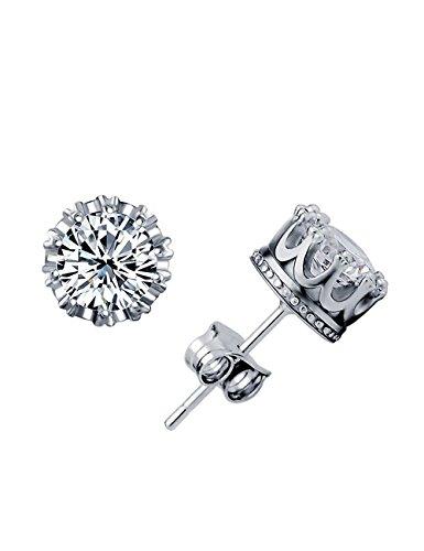 Neoglory® Jewellery 925 Sterling Silver Cubic Zirconia(CZ) Stud Earrings Royal Crown