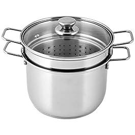 Royal Norfolk Spaghettiera/para servir espaguetis de cocina, cocinas de inducción, 6 L, de acero inoxidable, de diámetro 22 cm
