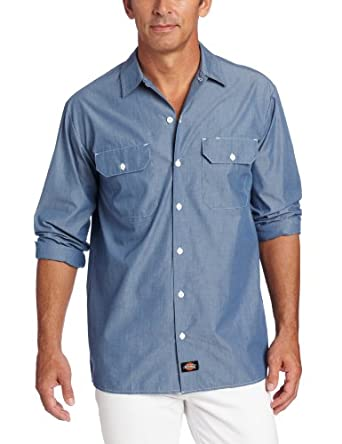 Dickies Men's Long Sleeve Shirt, Blue Chambray, Small
