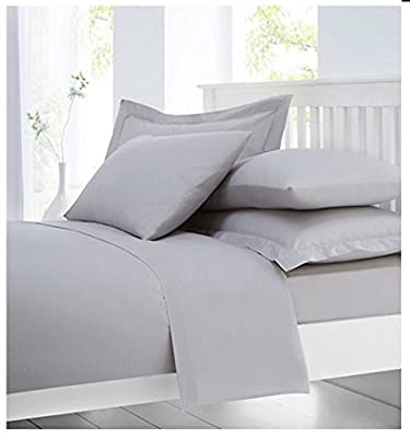 Cotton Comfort Luxury 100% Egyptian Cotton Percale 400 Thread Count Fitted Bed Sheets Grey Double