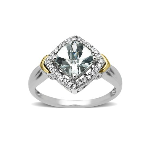 S&G Sterling Silver and 14k Yellow Gold Aquamarine and Diamond Ring (0.09 cttw, I-J Color, I3 Clarity), Size 7