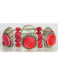 Red Stone Stretchable Link Bracelet - Stone And Metal