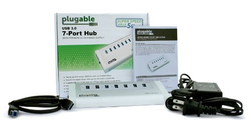 Plugable 7 port aluminum usb 3 0 superspeed hub with 20w - Plugable 7 port usb 3 0 superspeed hub ...
