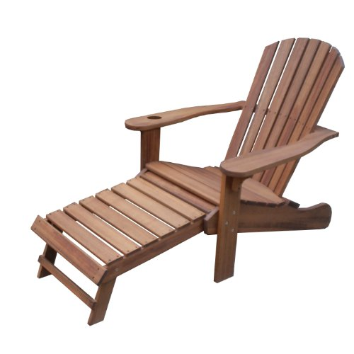 Outdoor Interiors CD3111 Eucalyptus Adirondack Chair with Drink Holder and Built In Ottoman