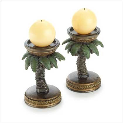 Koehler Home Decor Gift Accent Tropical Palm Tree Candle Holders