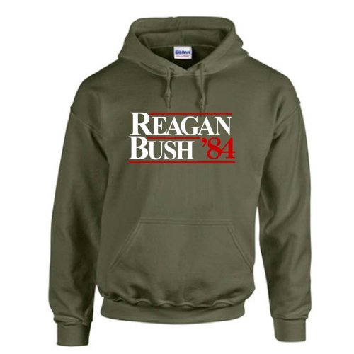 Reagan Bush 1984 Presidential Race Tea Party Gop Hoodie Sweatshirt Military Green 4Xl