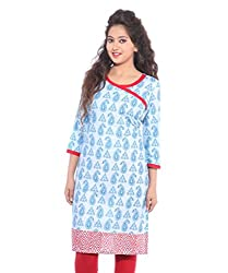 Lal Chhadi Women's 3/4 Sleeve Printed Cotton Kurta