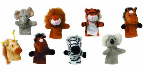 TOYS PURES - 15.125 - Marionnettes de doigts - lot de 8 - Zebre, Lion, Elèphant, Girafe, Koala, Tigre, 2 cheveaux
