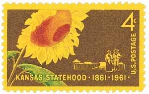 #1183 - 1961 4c Kansas Statehood U. S. Postage Stamp Plate Block (4)