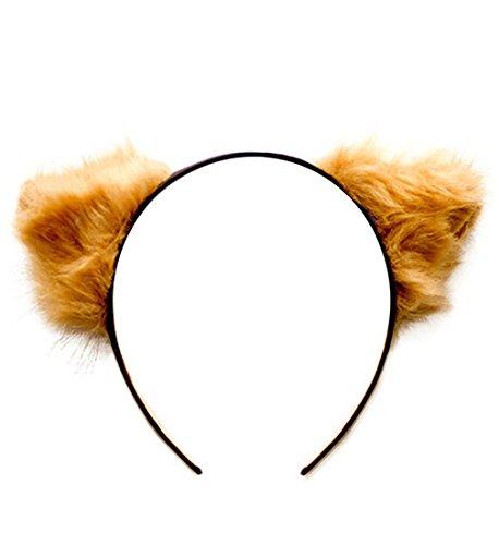 [Meowingtons Furry Cat Ears Headband] (Brown Cat Ears)