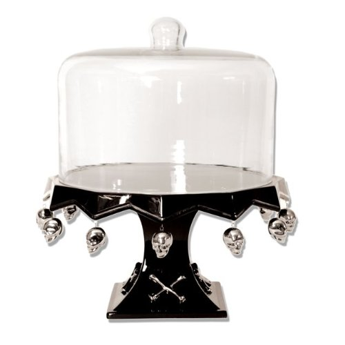 Halloween Skull \u0026 Bones Pedestal Cake / Cupcake / Dessert Stand Plate with Glass Dome Reviews  sc 1 st  Cake Stands Carriers & Cake Stands Carriers: Halloween Skull \u0026 Bones Pedestal Cake ...