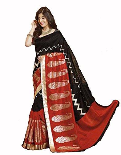 Samskruti Sarees Raw Silk Saree With Blouse Piece (Sedas-1 -Black)