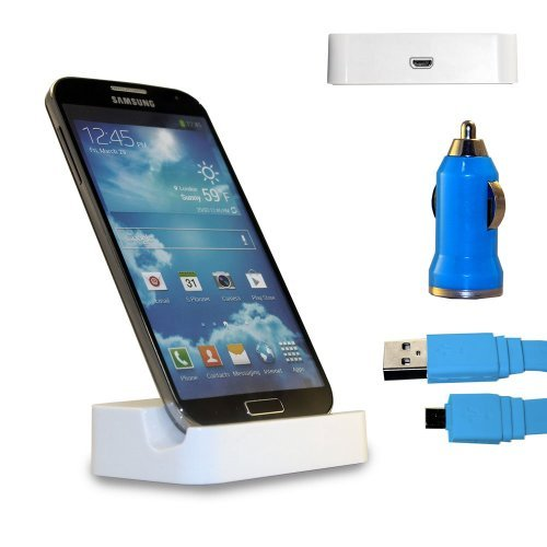 Shelfone 3 In 1 Bundle Premium High Quality White Charging Dock Desktop Stand Docking Station Includes Coloured Includes Flat Micro Usb Data Cable & Universal Bullet Car Charger For Various Samsung Mobile Series Samsung Galaxy S3 I9300 Blue